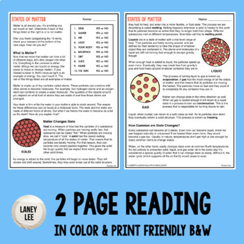 States of Matter - Guided Reading + Worksheets