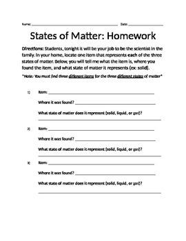 States of Matter Homework
