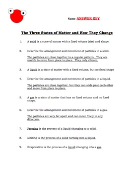 States of matter matching teaching resources teachers pay teachers states of matter how they change q sheet test with keys fandeluxe Images