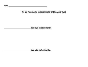 States of Matter Identification Worksheet - large print, water cycle poster