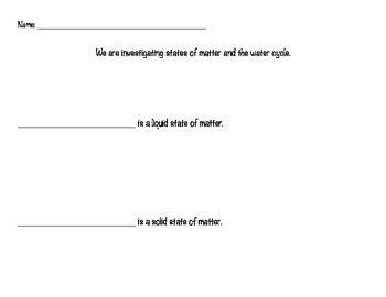 States of Matter Identification Worksheet - large print, w
