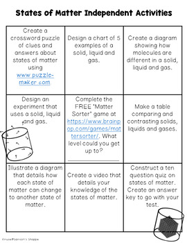 States of Matter Choice Activity Sheet Great for Homework or Review