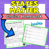 States of Matter Choice Activity Sheet Great for Homework