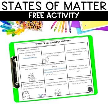 States of Matter Choice Activity Sheet