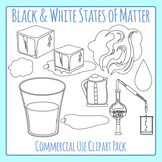 States of Matter Line Art Solid, Liquid & Gas Clip Art for Commercial Use