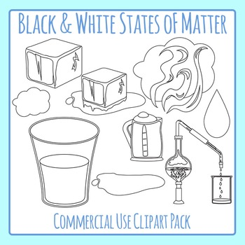 states of matter line art solid liquid gas clip art for rh teacherspayteachers com Matter Solid-Liquid Gas Solid Liquid and Gas Projects