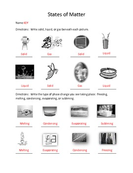 States of Matter - Matter Changing States Worksheet Review by ...