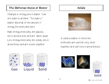 States of Matter Minibook for ELL Students
