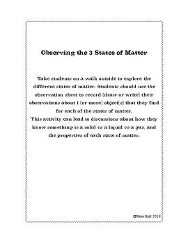 States of Matter Observations