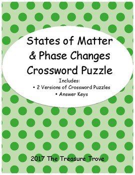 States of Matter & Phase Changes Crossword Puzzle
