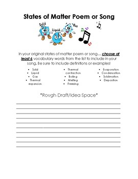 {FREE} States of Matter Poem or Jingle- Physical Science Project