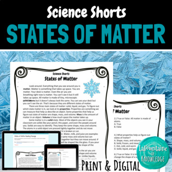States of Matter Reading Comprehension Passage