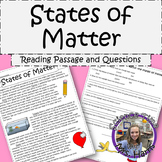 States of Matter Reading Passage with Questions