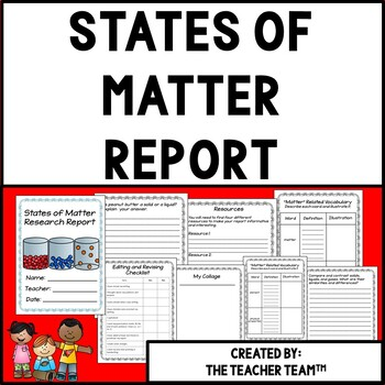 States of Matter Research Report Resource