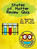 States of Matter Review for Third Grade Science for Use in Quiz-E Games