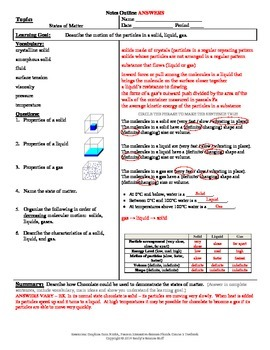 States of Matter (SLG) Cornell Notes #29