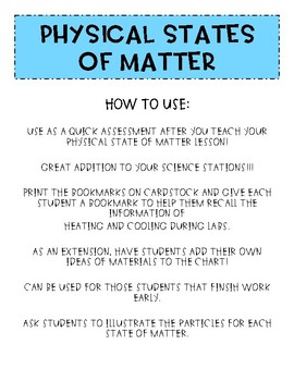 States of Matter SORT and BOOKMARKS