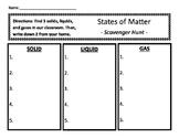 States of Matter - Scavenger Hunt