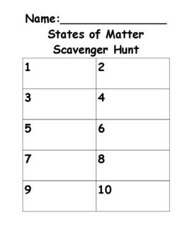 States of Matter Scavenger Hunt