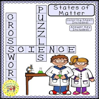 States of Matter Science Crossword Puzzle Coloring Workshe