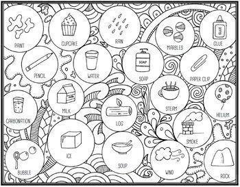 States of Matter Seek & Sort Doodle Page and Card Sort