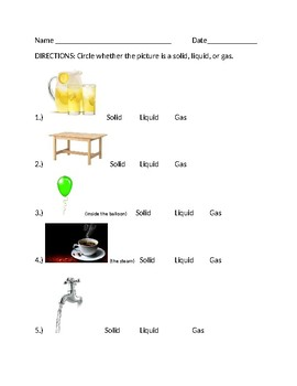 States of Matter- Solid, Liquid, Gas