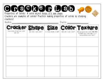 States of Matter: Solids- Cracker and Cookie Lab Report Sheets