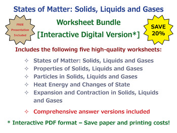 States of Matter: Solids, Liquids and Gases [Interactive Worksheet Bundle]