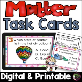 States of Matter: Solids, Liquids or Gas Task Cards and Poster