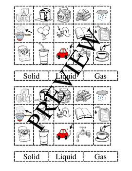 States of Matter Sorting (2 per Page)