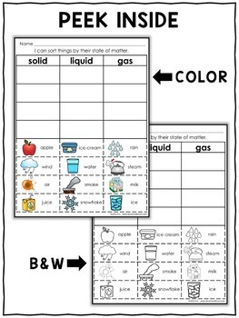 Interactive Sorting - States of Matter Activity
