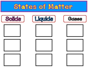 States of Matter Sorting Center Freebie