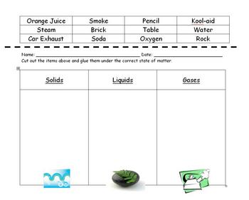 States of Matter Sorting Worksheet