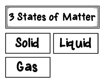 States of Matter Sorting and Activities