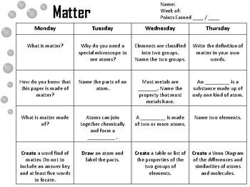 States of Matter Spiral Review or Homework
