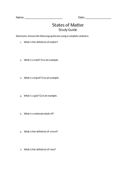 States of Matter Study Guide and Test
