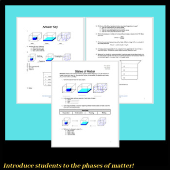 States of Matter: Solid, Liquid, Gas. Quiz, Review Sheet or Worksheet