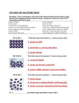 States of Matter Test and Answer Key