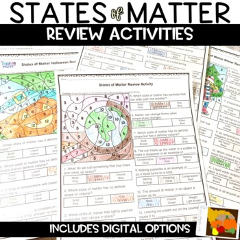 States of Matter Thanksgiving Color by Number Review Activity for Autumn