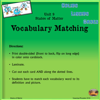 States of Matter Vocabulary Matching Cards