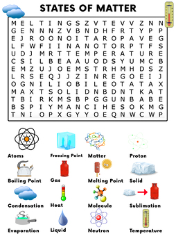 States of Matter Word Search Activity