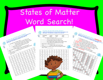 States of Matter Word Search and Fill-in