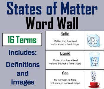 States of Matter Word Wall Cards