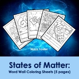 States of Matter Word Wall Coloring Sheets (5 pages)