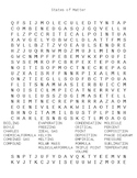 States of Matter Wordsearch