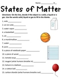 States of Matter Worksheet