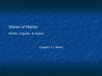 States of Matter and Kinetic Theory