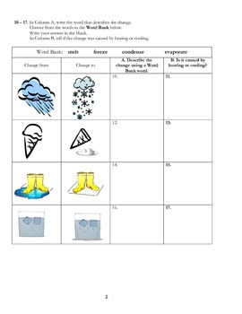 States of Matter and Properties Assessment