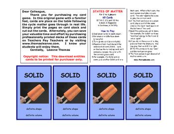 States of Matter Card Game (digital download)