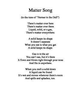 States of Matter song (Farmer in the Dell) by Heather Connor | Teachers Pay Teachers